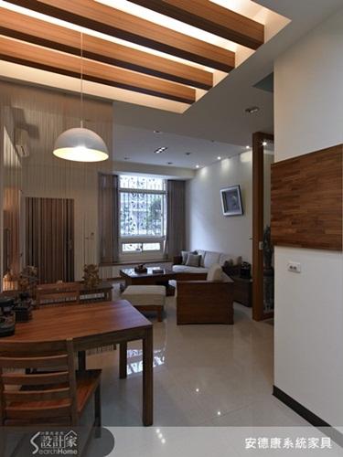 花板设计为木材格栅造型