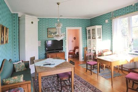 欧式蓝绿窗帘客厅搭配