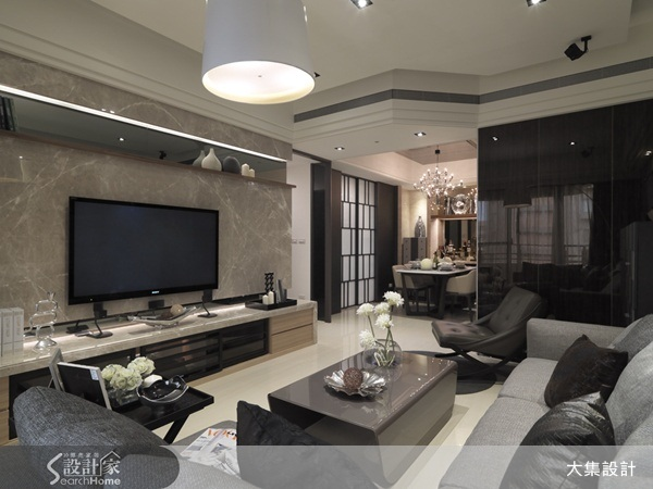 建材運用、大理石、客廳、餐廳、主牆設計、電視牆