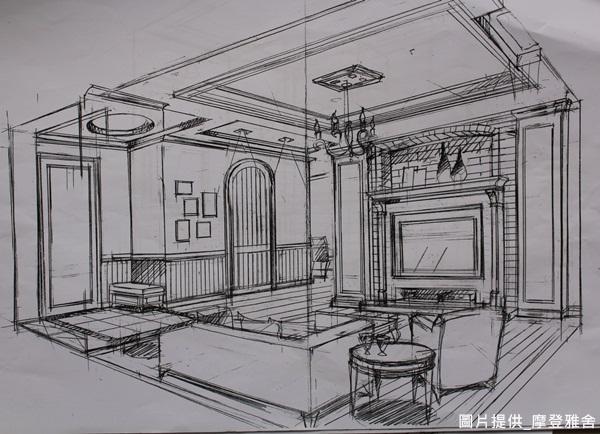 简单室内空间手绘图