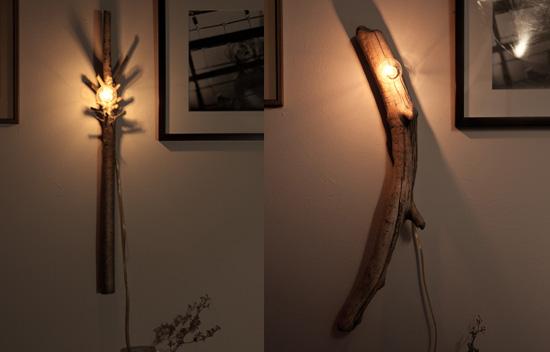 從簡單的聖誕樹燈踏出第一步之後,手作燈具越來越上手。 忍不住要再多分享一些進階的設計款。  紐約布魯克林區的Et Al. Collaborative 設計公司,利用過季的聖誕燈,結合施工後剩餘的樹枝、木材等,發展出一系列槽式燈具(fLume lamps)。他們試著儘量減少對木料的重製,因此每件燈具皆保持其原型的獨特性,唯一作的改變,只有為了更符合綠能目標,而加裝省電燈泡(CFL)或LED燈泡,藉以取代照片中的傳統白熾燈泡。  更多關於Et Al.